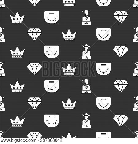 Set Poker Player, Diamond, King Playing Card And Poker Table On Seamless Pattern. Vector
