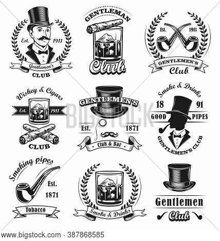 Gentlemen Club Emblems Set. Monochrome Badges Templates With Sirs In Top Hats, Cigars And Whiskey. V