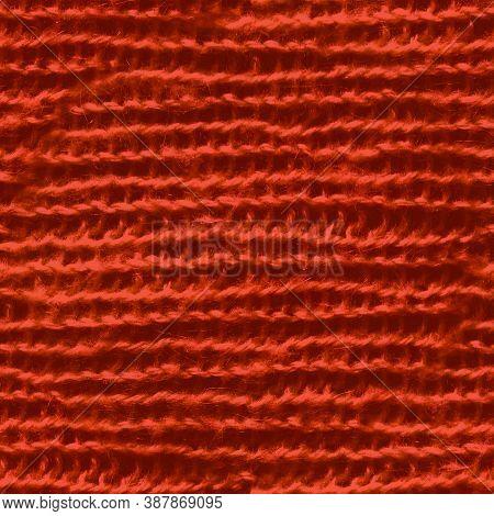 Red Nordic Knitting. Xmas Scandinavian Sweater. Grunge Knit Background. Seamless Handmade Holiday Pl