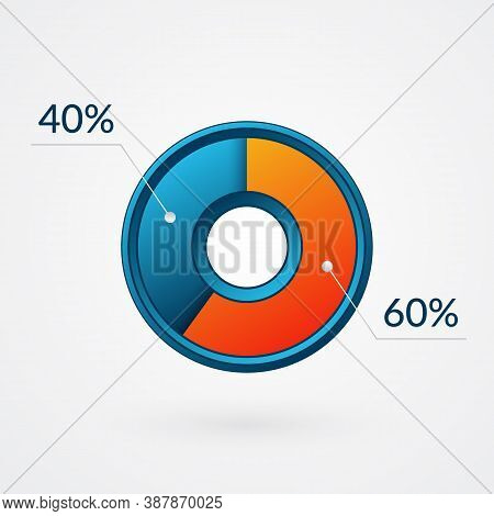 60 40 Percent Isolated Pie Chart. Percentage Vector, Infographic  Blue And Orange Gradient Icon. Cir