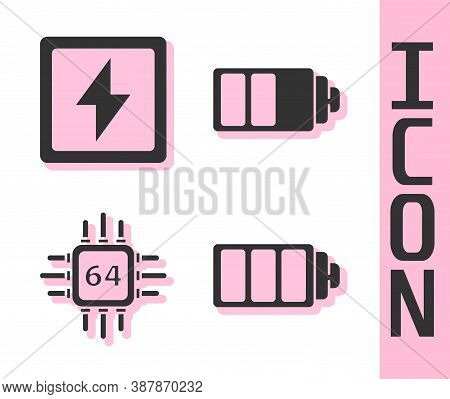Set Battery Charge Level Indicator, Lightning Bolt, Processor With Microcircuits Cpu And Battery Cha