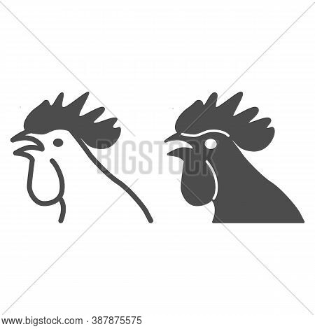 Rooster Head Line And Solid Icon, Domestic Fowl Concept, Chicken Head Sign On White Background, Cock