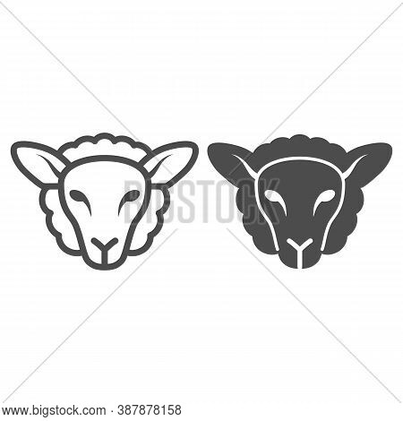 Sheep Head Line And Solid Icon, Farm Animals Concept, Lamb Sign On White Background, Silhouette Of S