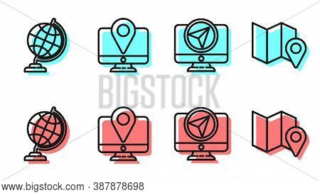 Set Line Monitor With Location Marker, Earth Globe, Monitor With Location Marker And Folded Map With