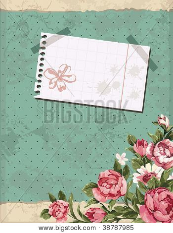 Abstract Elegance Vintage polka dot card. Retro decor illustration.