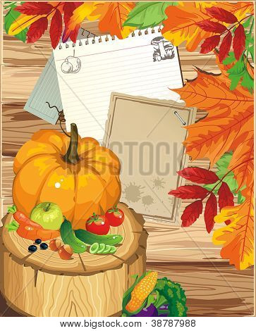 Autumn background, vintage maple leaves. Happy Thanksgiving beautiful card with Place for your text.