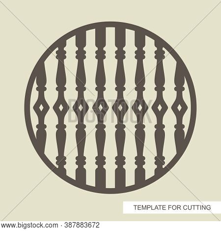 Round Frame With Classic Balusters. Template For Laser Cutting (cnc), Wood Carving, Paper Cut Or Pri