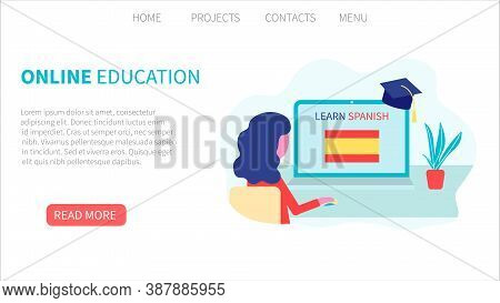 Landing Page Template. Online Spanish Learning, Distance Education Concept. Language Training And Co