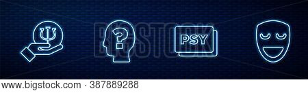 Set Line Psychology, Psi, , Head With Question Mark And Comedy Theatrical Mask. Glowing Neon Icon On