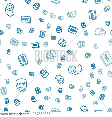 Set Line Comedy Theatrical Mask, Broken Heart Or Divorce And Psychology, Psi On Seamless Pattern. Ve