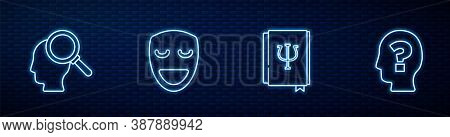 Set Line Psychology Book, Psi, Finding A Problem, Comedy Theatrical Mask And Head With Question Mark