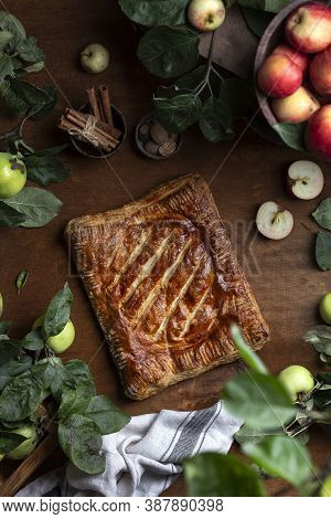 Traditional Homemade Apple With Ginger Turnover Puff Pastry Pie