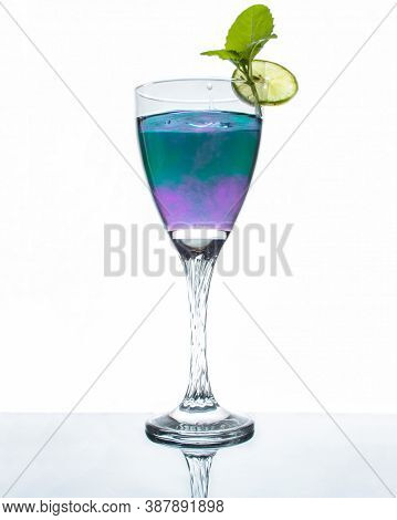 Dual Color Healthy Cocktail Stock Photo In White Background