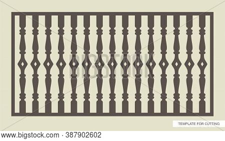 Rectangular Fence (lattice, Railings, Panel) With Classic Balusters. Template For Plotter Laser Cutt