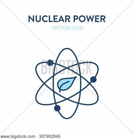 Nuclear Power Icon. Vector Illustration Of Atomic Nucleus With A Leaf Eco Symbol. Represents Concept