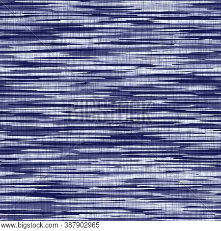Seamless Indigo Washed Stripe Texture. Blue Woven Boro Linen Cotton Dyed Effect Background. Japanese