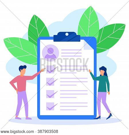 Vector Illustration Of A Business Concept. Job Application Form. Employers Check The Applicant List.
