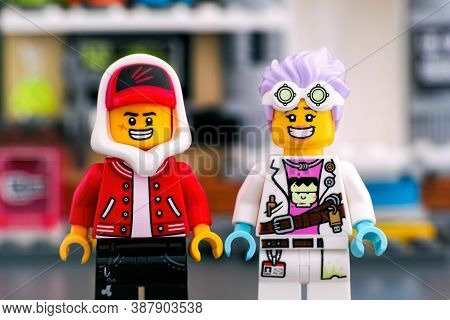 Tambov, Russian Federation - September 18, 2019 Lego Hidden Side Set. Two Lego Minifigures - Jack Da
