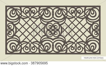 Rectangular Frame With A Beautiful Openwork Pattern And A Lattice Inside. Template For Laser Cutting