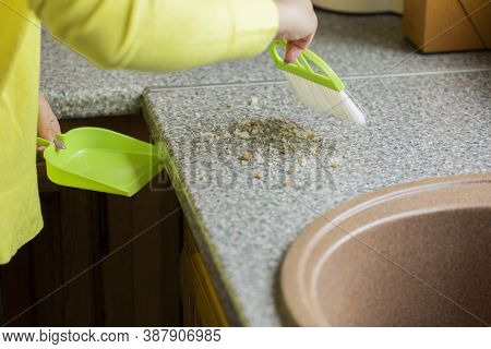 Close Up Person Cleaning House, Sweeps Crumbs Off Table With Brush And Dustpan Set For Cleaning Kitc