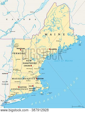New England Region Of The United States Of America, Political Map. Maine, Vermont, New Hampshire, Ma