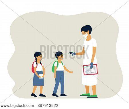 For Children To Go To Class, It Is Necessary To Measure The Temperature. Wearing A Mask, The Doctor