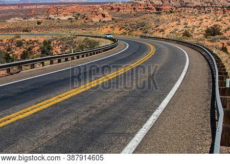 Asphalt Road In Usa. Desert Highway Of The American Southwest