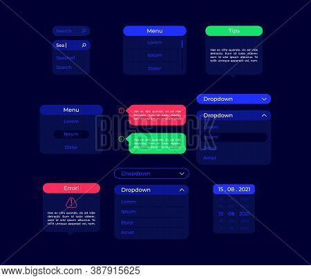 Settings Ui Elements Kit. Dropdown Menu. Info Tips. Option Panels Isolated Vector Icon, Bar And Dash