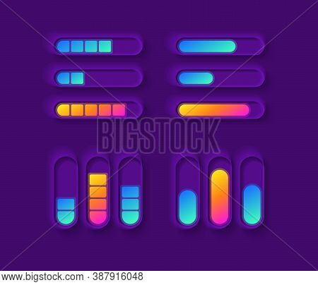 Power Gauge Ui Elements Kit. Mixer Bars. Media Equalizer. Multimedia Isolated Vector Icon, Bar And D