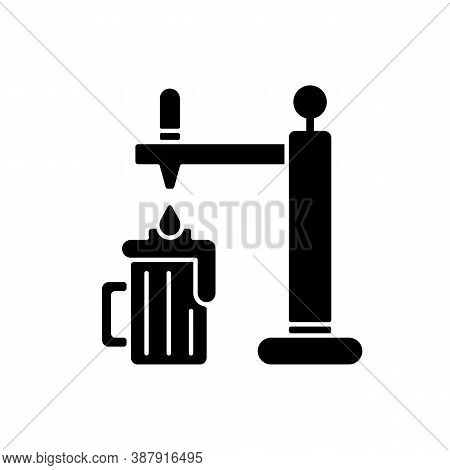 Draught Beer Black Glyph Icon. Pouring Lager In Mug. Beverage From Bar. Pub Menu. Craft Beer. Party