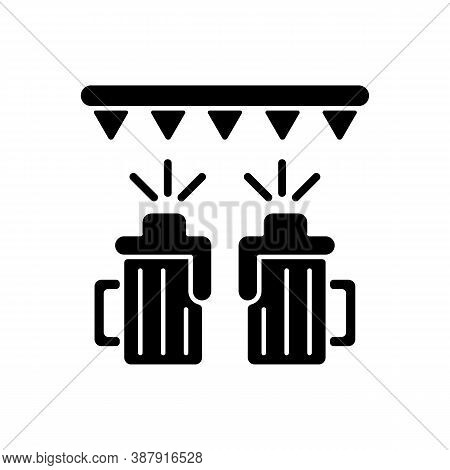 Beer Festival Black Glyph Icon. Fest With Ale At Bar. Pub Party With Booze. Alcoholic Drinks For Cel