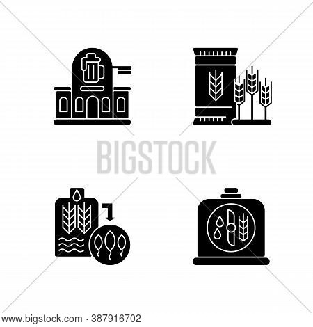 Brewery Manufacture Black Glyph Icons Set On White Space. Pub Establishment. Malted Barley For Indus