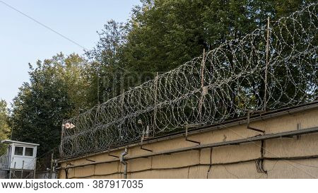 Prison Barbed Wire Fence.prison Cell's Bars. Jail, Detail Of Confinement And Crime, Justice. Prison