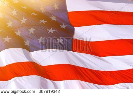 American Flag Background: American Flag Usa Close Up Waving Background Texture. American Flag Waving