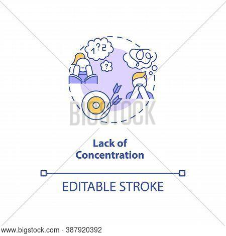 Concentration Loss Concept Icon. Screen Addiction Symptom Idea Thin Line Illustration. Distraction.