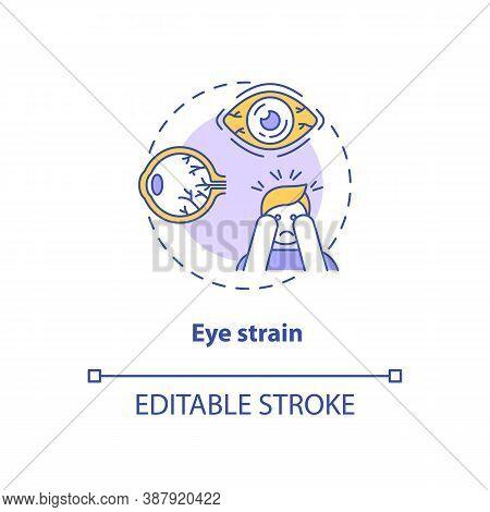 Eye Strain Concept Icon. Screen Addiction Symptom Idea Thin Line Illustration. Itchy, Irritated Eye.