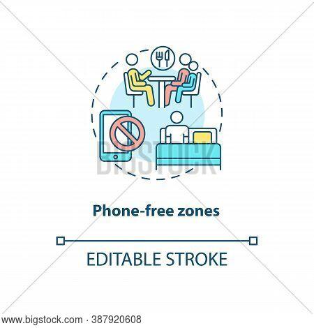 Phone-free Zones Concept Icon. Parental Control Element Idea Thin Line Illustration. Tech-free Place