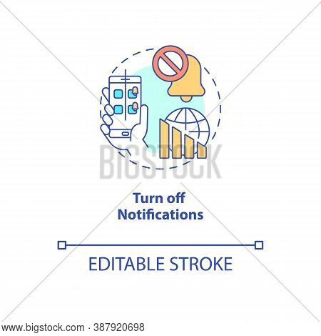 Turn Off Notifications Concept Icon. Smartphone Dependence Reducing Idea Thin Line Illustration. Soc
