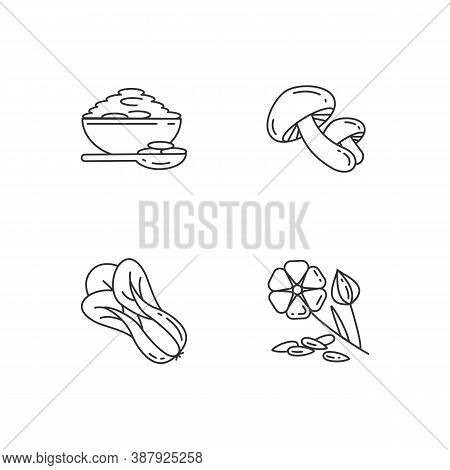 Healthy Grains Pixel Perfect Linear Icons Set. Organic Shiitake Mushrooms. Eco Seed Meal Ingredients