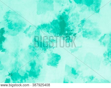 Abstract Aquarelle Texture. Neo Mint Ink Drawing. Handmade Wallpaper. Aquarel Paint Stain Drawing. G