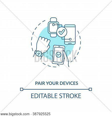 Pair Devices Concept Icon. Setup Instruction Idea Thin Line Illustration. Successful Connection Proc
