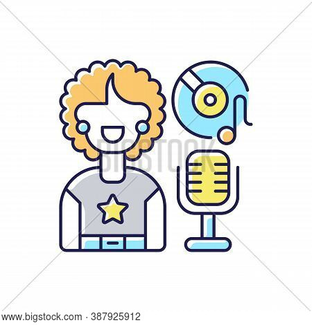 Soul Music Rgb Color Icon. Vinyl With Note. Retro Microphone. Singer Woman With Stared Sweatshirt. E