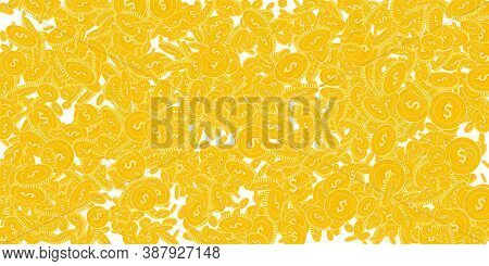 American Dollar Coins Falling. Scattered Floating Usd Coins On White Background. Posh Wide Scatter V