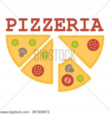 Pizzeria Logo On A White Background. Vector Illustration. Logo For Pizzeria, Restaurant With Pizza S