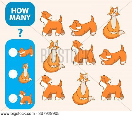 Count How Many Cats, Hares, Dogs Is Educational Game. Maths Task Development Of Logical Thinking Of