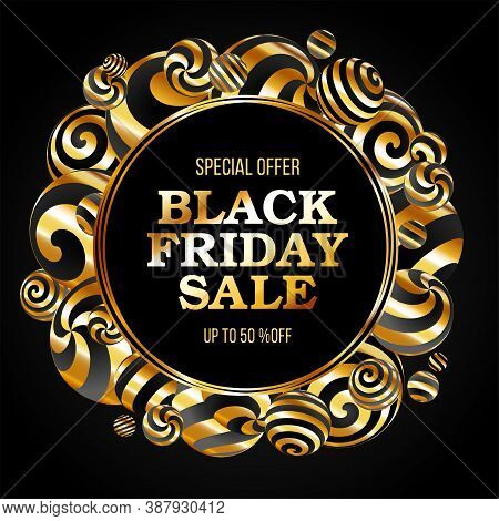 Black Friday Sale Poster. Commercial Discount Event Banner.