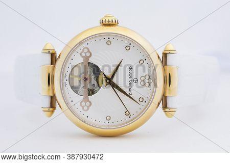 Geneve, Switzerland 01.10.2020 - Claude Bernard Woman Swiss Made Mechanical Watch Gold Pvd Coating W