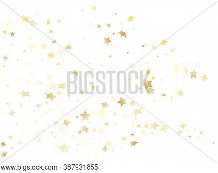 Magic Gold Sparkle Texture Vector Star Background. Geometric Gold Falling Magic Stars On White Backg