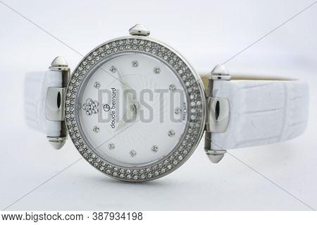 Geneve, Switzerland 01.10.2020 - Claude Bernard Woman Swiss Made Watch Decorated With Jewels White D