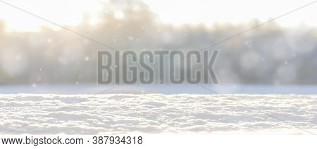 Christmas Winter Blurred Background With Snow.banner For Winter Projects.